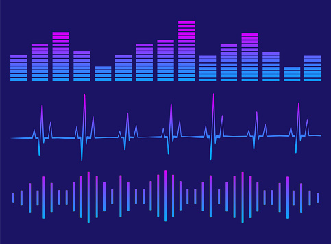 A set of equalizers. Equalizer for music player.