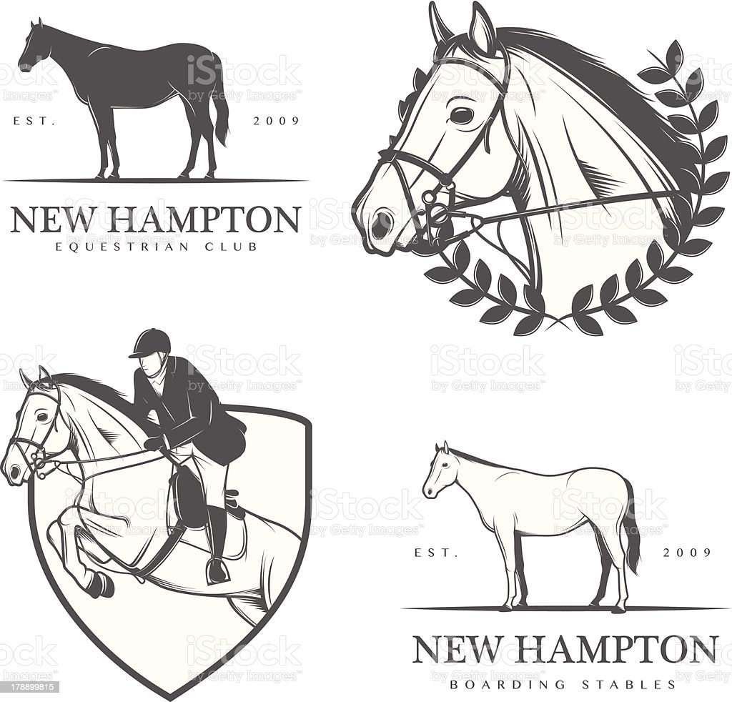 Set of equestrian stables labels and badges royalty-free stock vector art