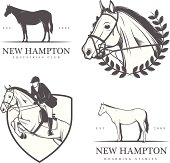 Set of equestrian stables labels and badges.