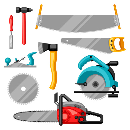Set Of Equipment And Tools For Forestry And Lumber ...
