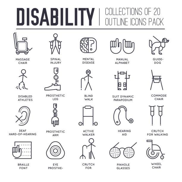 殘疾人設備組細線圖示。 - hearing aid 幅插畫檔、美工圖案、卡通及圖標