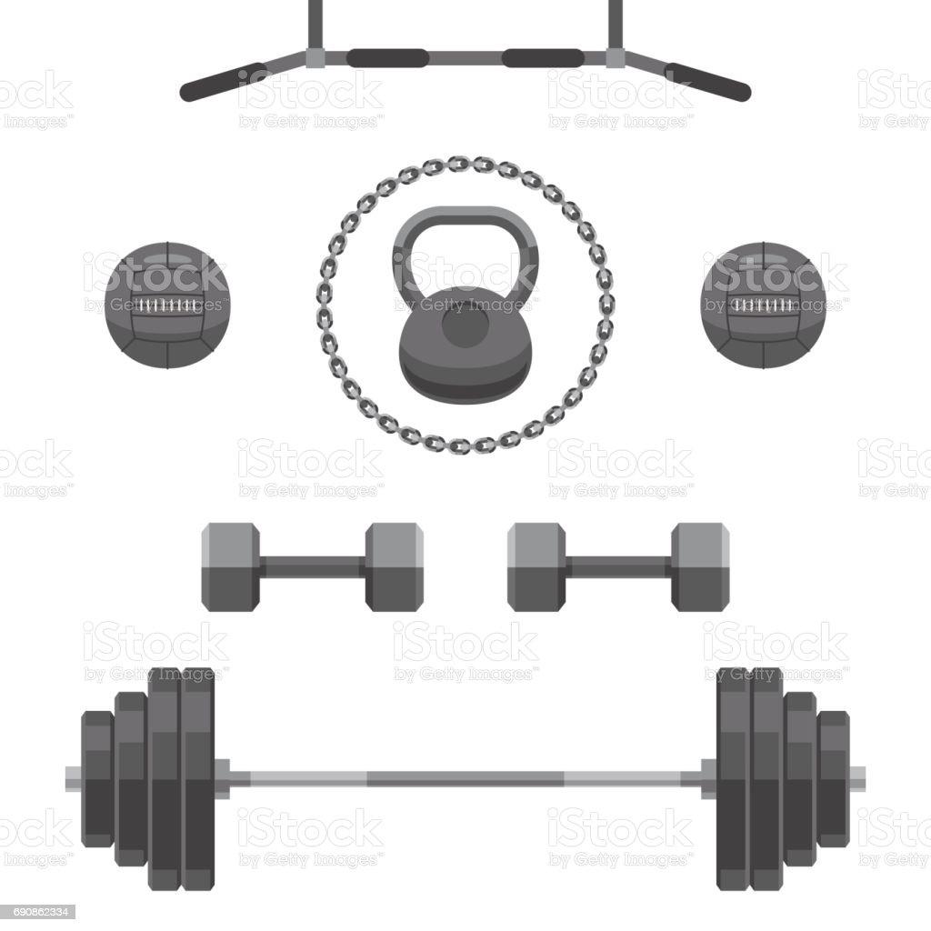 Set of equipment for GYM vector art illustration