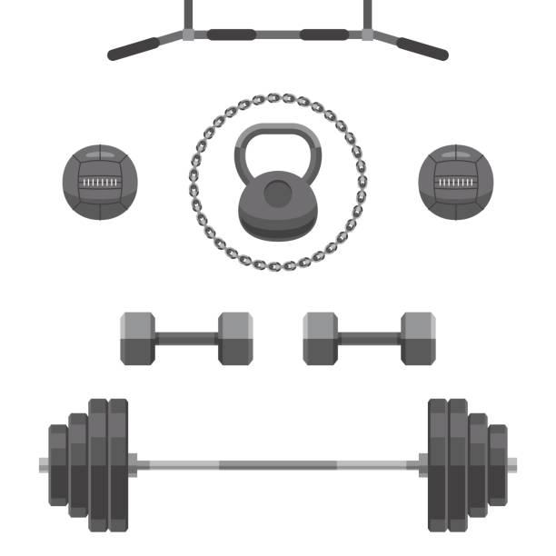 Conjunto de equipos para gimnasio - ilustración de arte vectorial