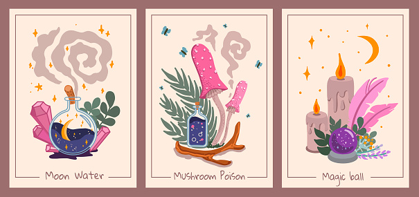 Set of Esoteric Wall Decor with Magic Ball, Mushrooms, Bottles and Candles. Tarot Card aesthetic, Kids style. Hand-drawn Vector illustration, Flat design.