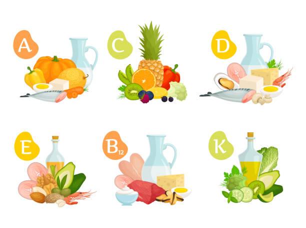 çeşitli gıdalarda temel vitaminler bir dizi. vektör. - vitamin d stock illustrations