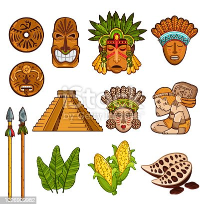 Collection of ancient Maya cultural masks and temples with agricultural elements isolated on white background