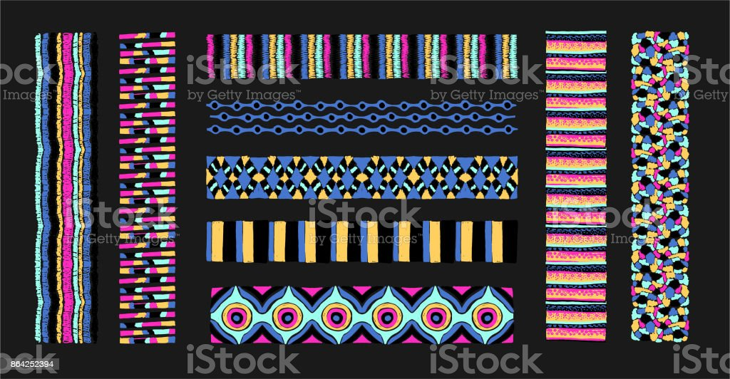 Set of ethnic art brushes in African style. The Aztec pattern. Oriental lace tap royalty-free set of ethnic art brushes in african style the aztec pattern oriental lace tap stock vector art & more images of abstract
