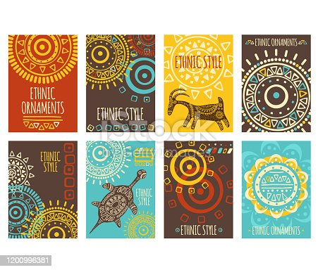 Set of ethnic banner, background, flyer, placard with tribal ornaments of red, yellow, blue and brown colors. Vertical vector poster, template card, sticker with geometric patterns and animals. EPS8