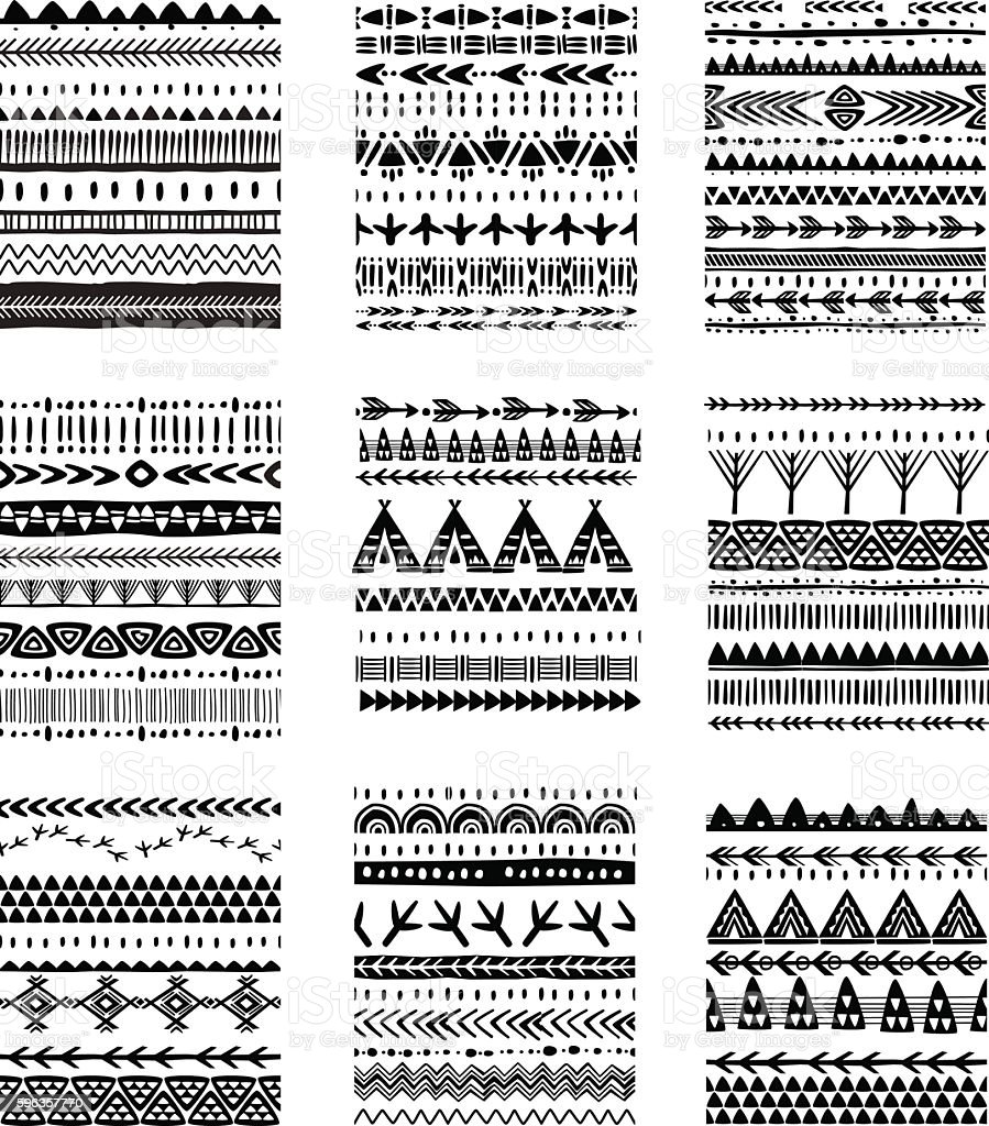 Set of ethnic brushes and patterns vector art illustration