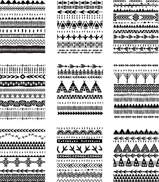 set of ethnic brushes and patterns - tribal tattoos stock illustrations, clip art, cartoons, & icons