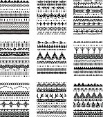 Set of ethnic brushes and patterns