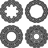 Set of ethnic circle elements. Orient traditional design. Lace pattern. Mandala round ornament. Vector fashion illustration.
