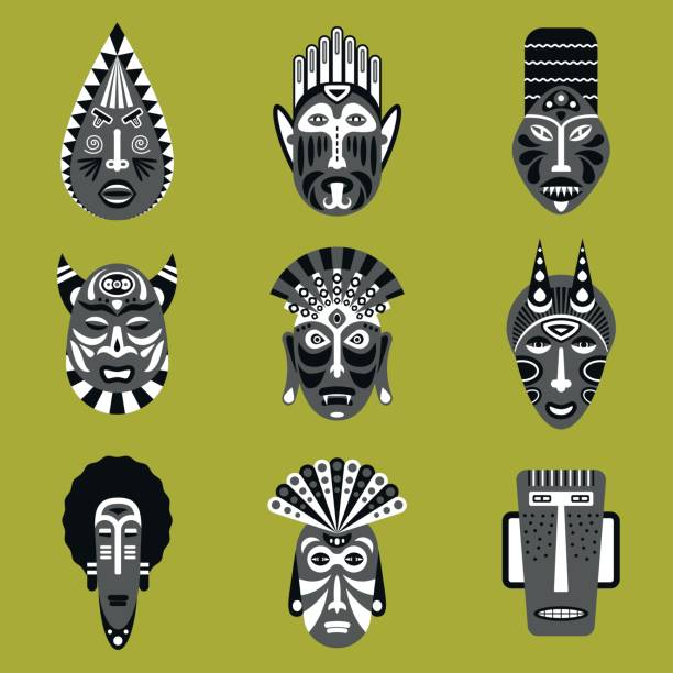 ilustrações de stock, clip art, desenhos animados e ícones de set of ethnic mask icons in flat style. eps10 vector collection of african tribal mask icons. - afro latino mask