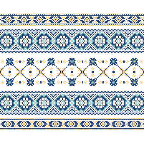 set of ethnic ornament pattern in blue colors - 烏克蘭 幅插畫檔、美工圖案、卡通及圖標
