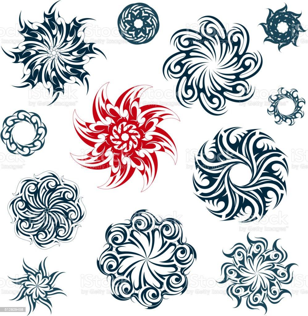 Conjunto de ornamentos étnicos - ilustração de arte em vetor