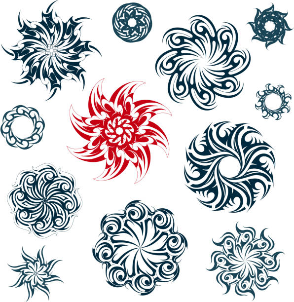 Set of ethnic ornaments vector art illustration