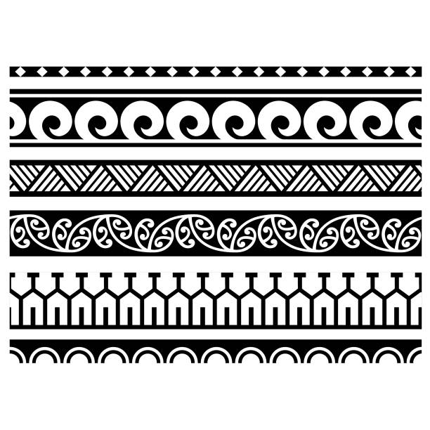 Set of ethnic seamless black and white borders patterns in the style of aboriginal polynesia for creating designs and print layouts. tribal design tattoo polynesian, samoan maori pattern border, ethnic bracelet vector seamless , band banner hawaiian and Filipino motif template, art texture graphic decoration element, sleeve template samoa aboriginal traditional black ornament hawaiian culture stock illustrations