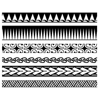 Set of ethnic seamless black and white borders patterns in the style of aboriginal polynesia for creating designs and print layouts.
