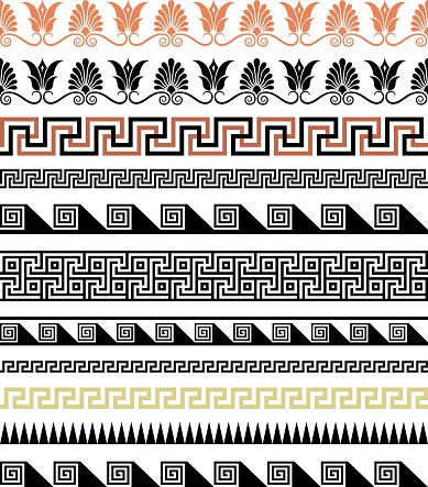Set of ethnic seamless borders. Antic Greek style.