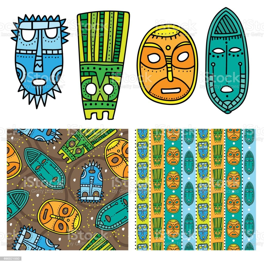 Set of ethnic seamless patterns with tribal african masks. Bright and colorful background for your design vector art illustration
