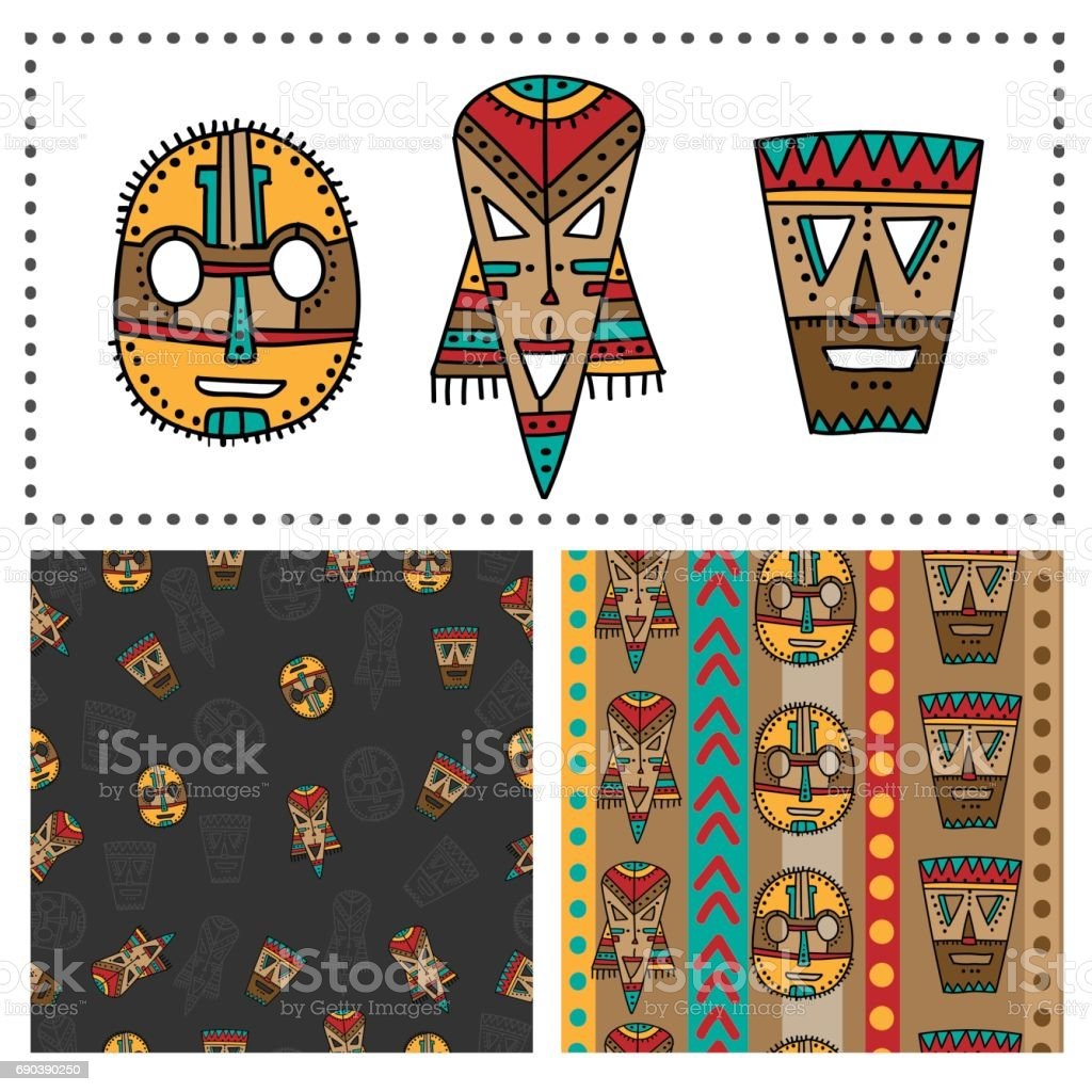 Set of ethnic seamless patterns with tribal african masks. Colorful elements and backgrounds for your design vector art illustration