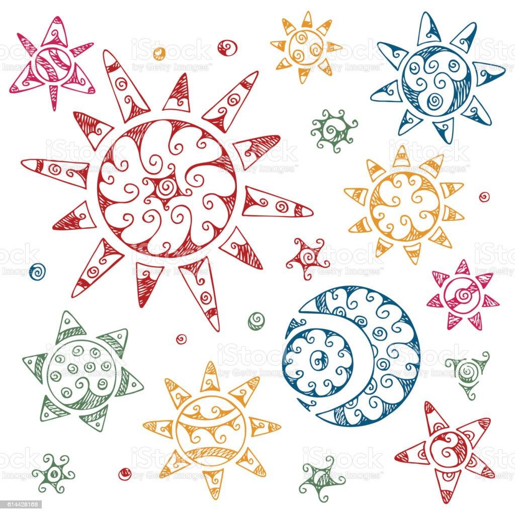 Set of Ethnic Symbols.  Hand drawn Sun, Moon,Crescent, Stars vector art illustration