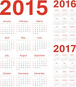 Set of european 2015, 2016, 2017 vector calendars