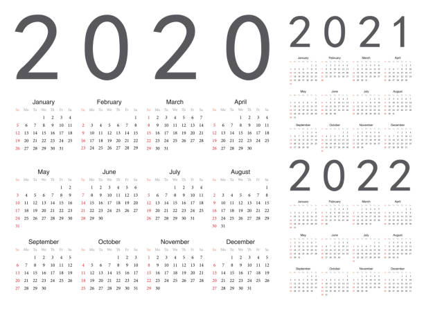 Set of european 2020, 2021, 2022 year vector calendars. Set of european 2020, 2021, 2022 year vector calendars. Week starts from Sunday. Anglo American stock illustrations