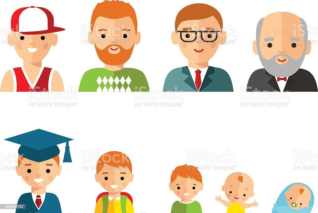 Set of european age group avatars man vector art illustration