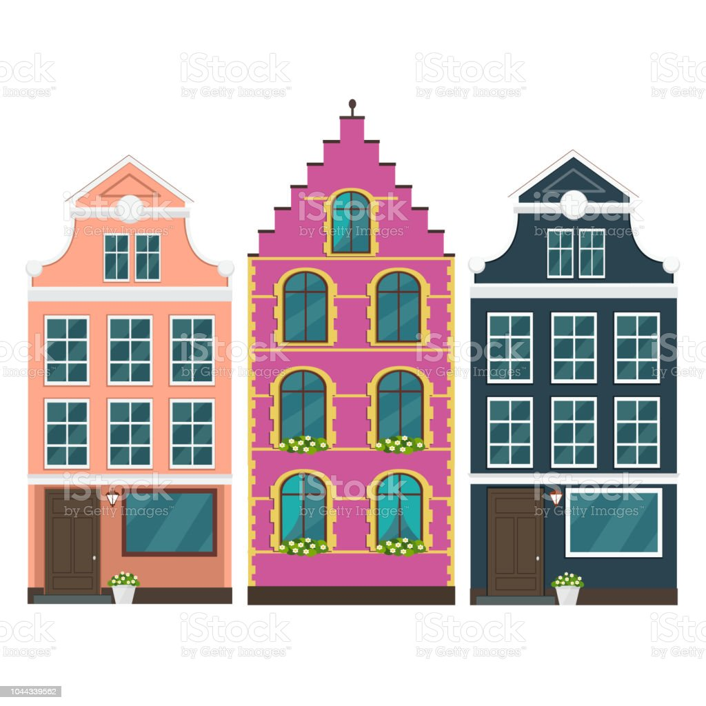 Set Of European Colorful Old Houses Stock Vector Art & More Images ...