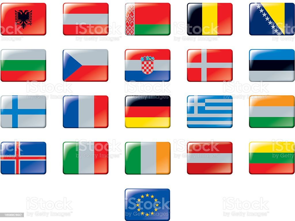 Set of European flags. Part 1/2 royalty-free stock vector art