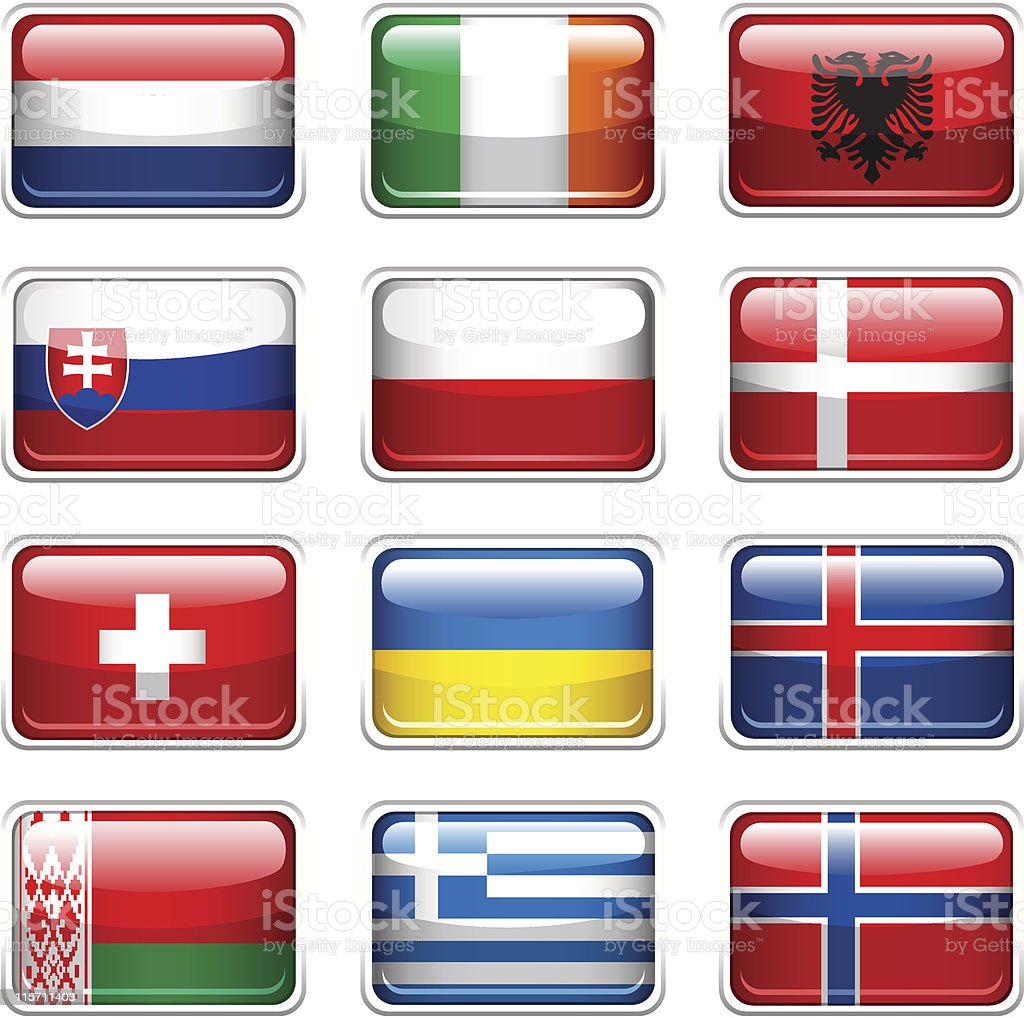 Set of European Flags. vector art illustration