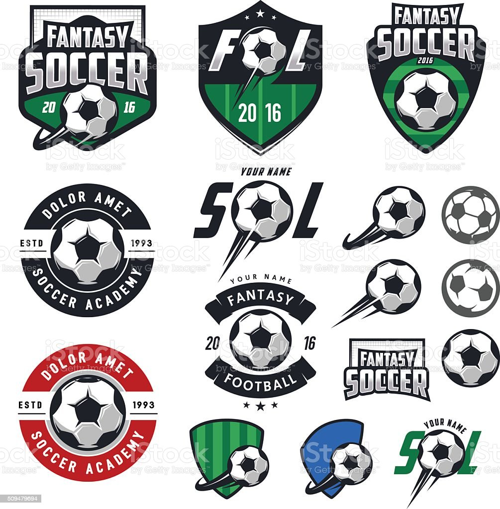 Set of European football, soccer labels, emblems and design elements vector art illustration