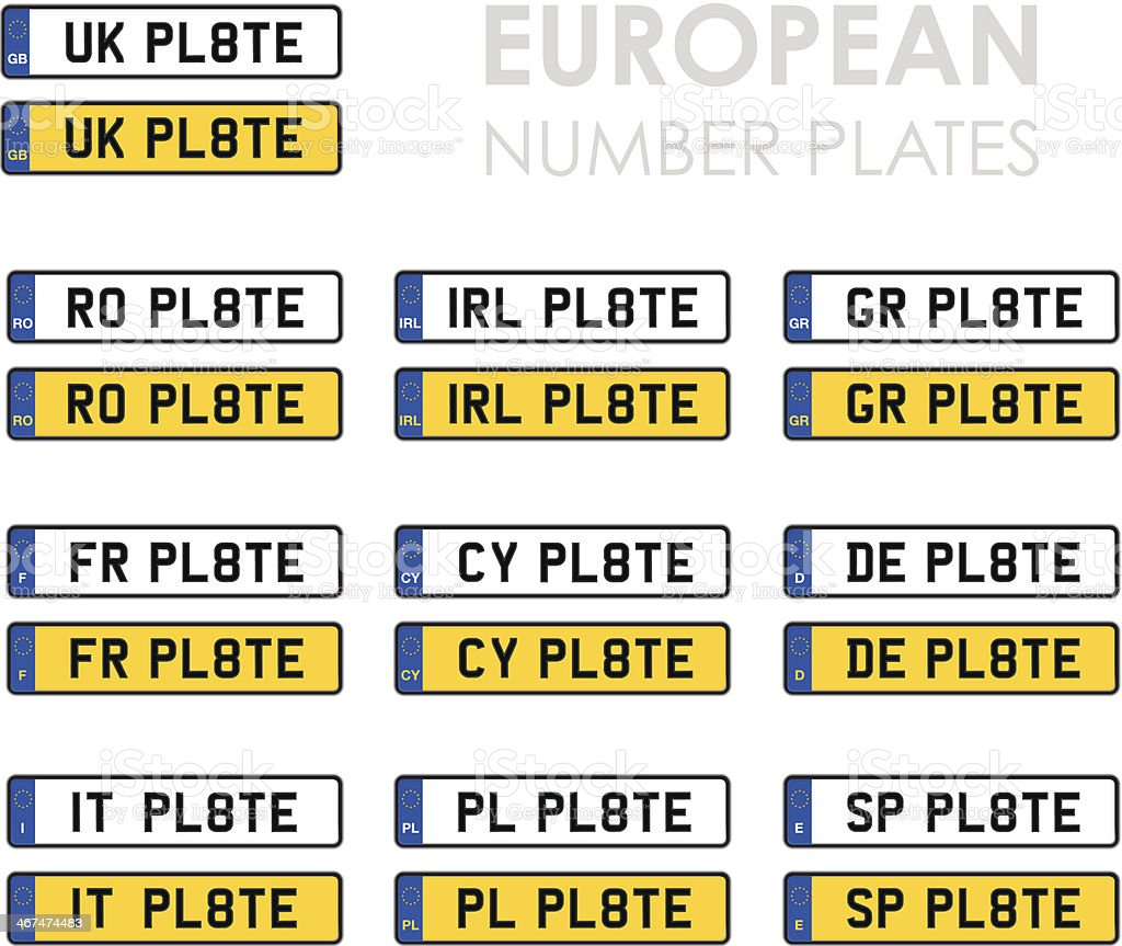 set of european number plates vector art illustration