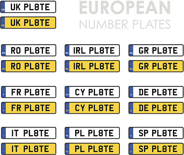 satz von europäischen nummer gerichte - nummernschilder stock-grafiken, -clipart, -cartoons und -symbole