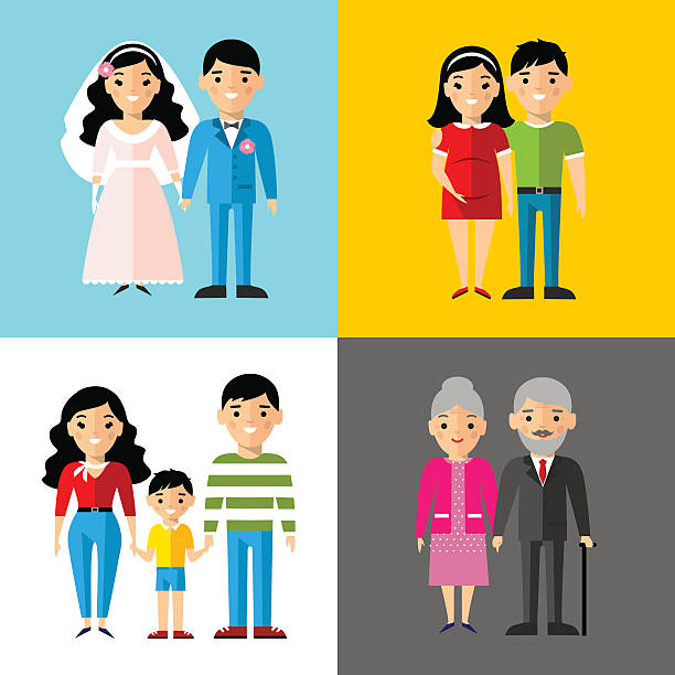 Set of european wedding couple, pregnant parents, grandparent, young family vector art illustration