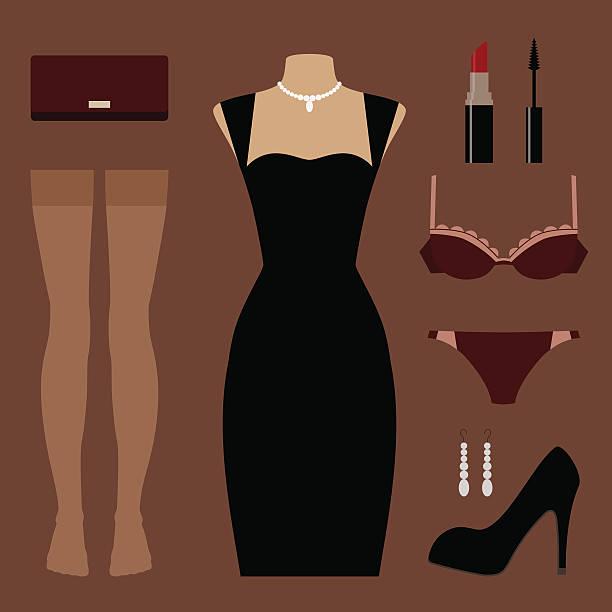 Ensemble de vêtements et d'accessoires de soirée - Illustration vectorielle