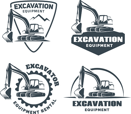 Set of excavator emblems and badges isolated on white background. Constructing equipment design elements.