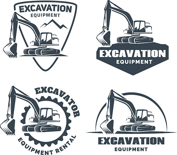 set of excavator emblems and badges isolated on white background. - bagger stock-grafiken, -clipart, -cartoons und -symbole