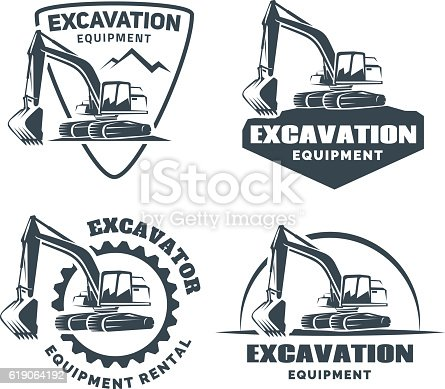Set Of Excavator Emblems And Badges Isolated On White ...