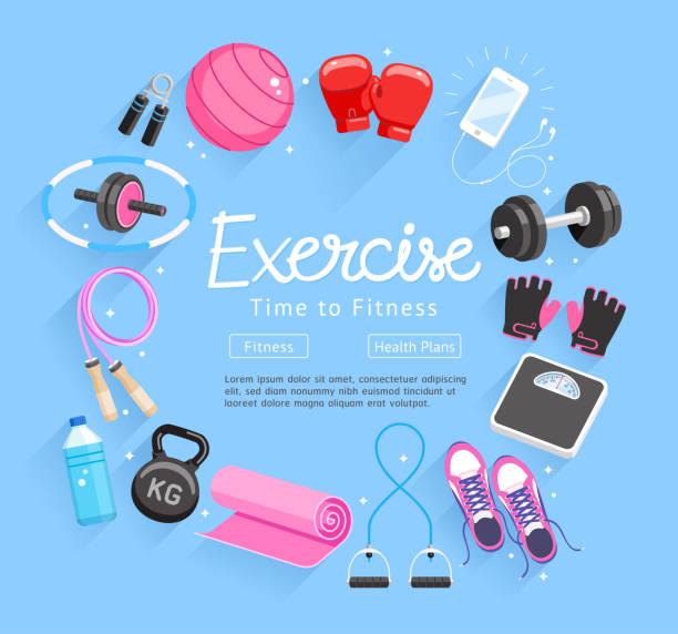Satz von Übungen Ausrüstung. Vektor-Illustrationen. – Vektorgrafik