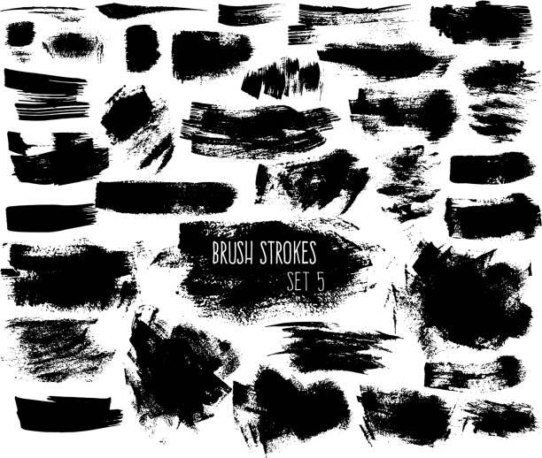 Set of expressive ink spots vector art illustration