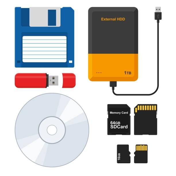 ilustrações, clipart, desenhos animados e ícones de conjunto de mídia externa de armazenamento: disquete, unidade de disco rígido externa, unidade flash memory stick usb, disco de cd ou dvd, sd e micro sd cartão de memória. ilustração vetorial - cd