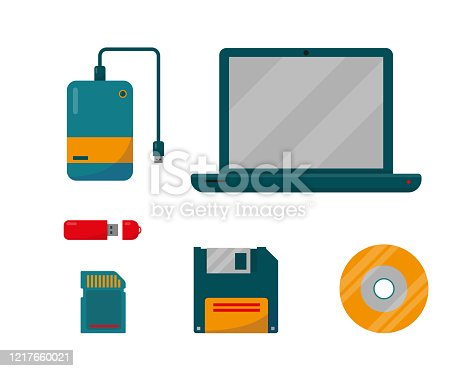Set of External Storage with laptop. Digital data devices icons isolated on white background. Vector illustration.
