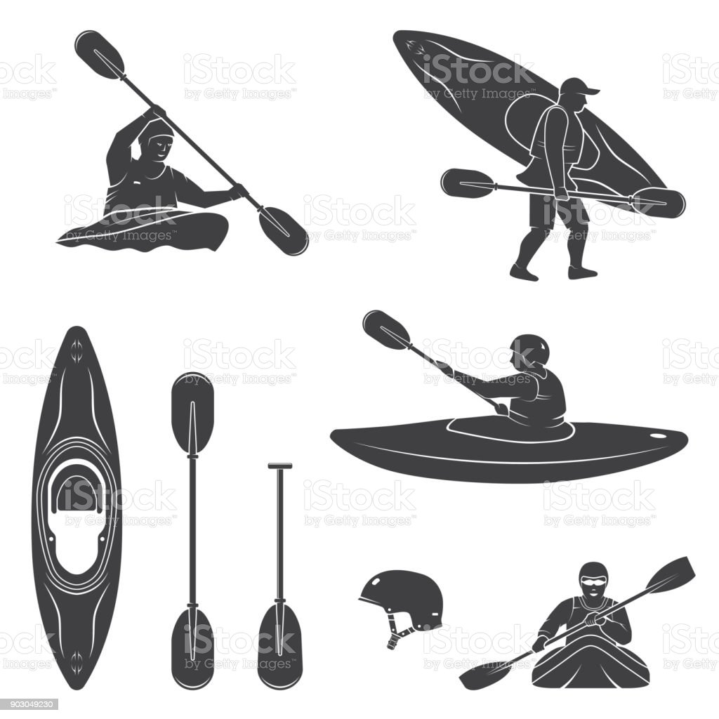 Set of extrema water sports equipment, kayaker and canoe silhouettes vector art illustration