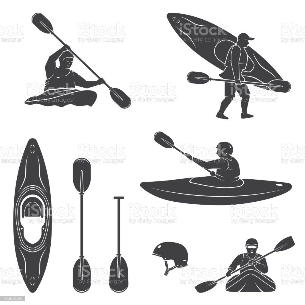 Conjunto de equipo de deportes de agua extrema, kayakista y siluetas de canoa - ilustración de arte vectorial
