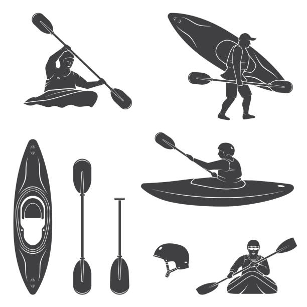 set of extrema water sports equipment, kayaker and canoe silhouettes - kayaking stock illustrations, clip art, cartoons, & icons