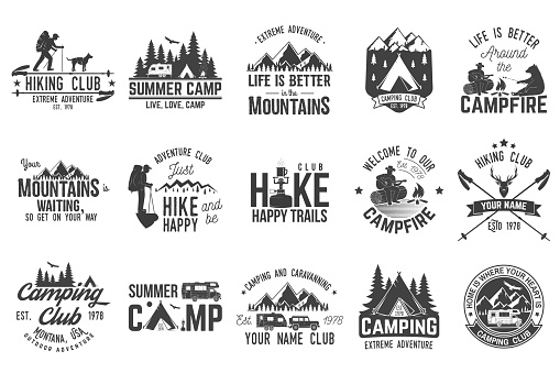 Set of extreme adventure badges. Concept for shirt or logo, print, stamp or tee.
