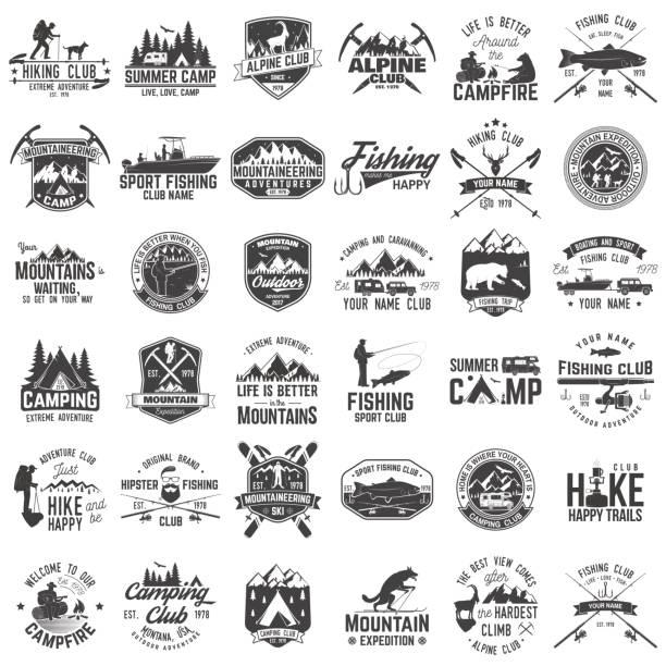satz von extreme abenteuer abzeichen. konzept für hemd oder logo, print, stempel oder abschlag - campinganhänger stock-grafiken, -clipart, -cartoons und -symbole