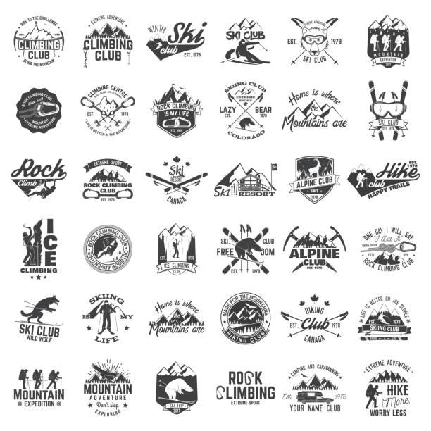 satz von extreme abenteuer abzeichen. konzept für hemd oder logo, print, stempel oder abschlag - skifahren stock-grafiken, -clipart, -cartoons und -symbole
